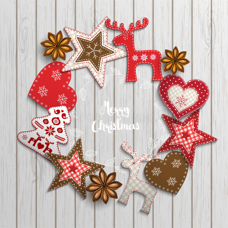 Free Christmas Motive, Small Scandinavian Styled Decorations Lying On Wooden Desk, Illustration Royalty Free Stock Photography - 78327427