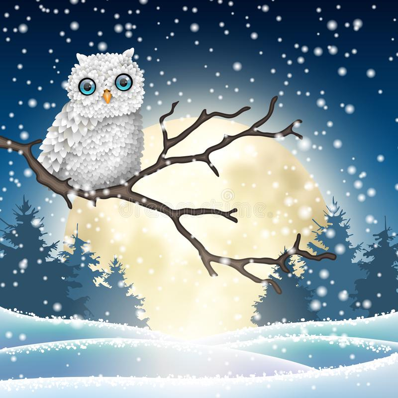 Free Christmas Motive, White Owl Sitting On Dry Branch Stock Photo - 130364280