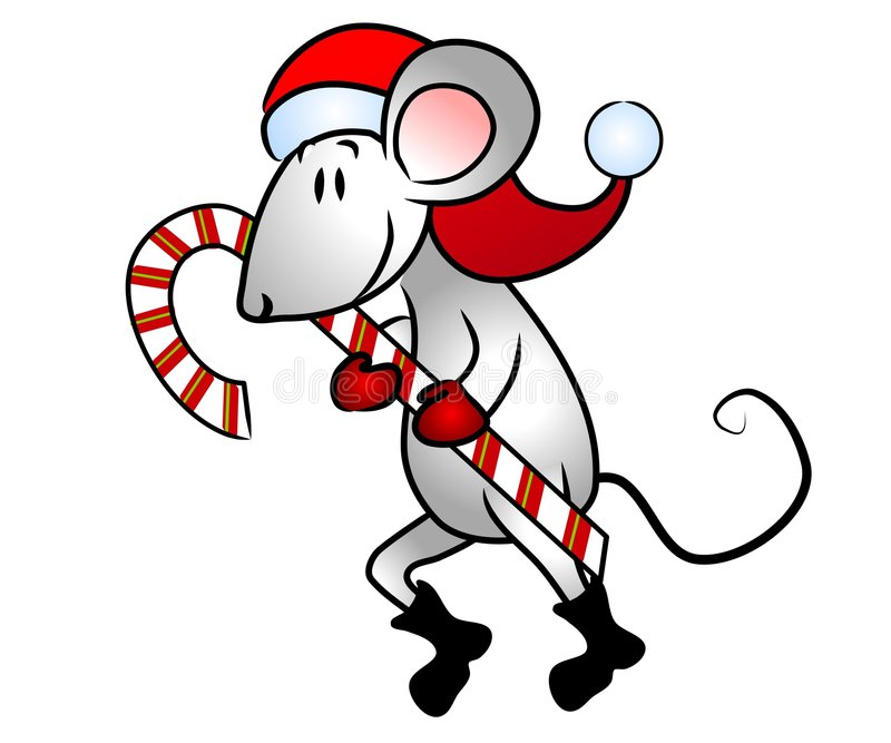 Christmas Mouse Candy Cane vector illustration