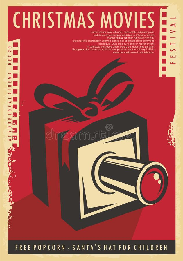 Christmas movies festival retro poster design with Christmas gift, film strips  and movie camera vector illustration