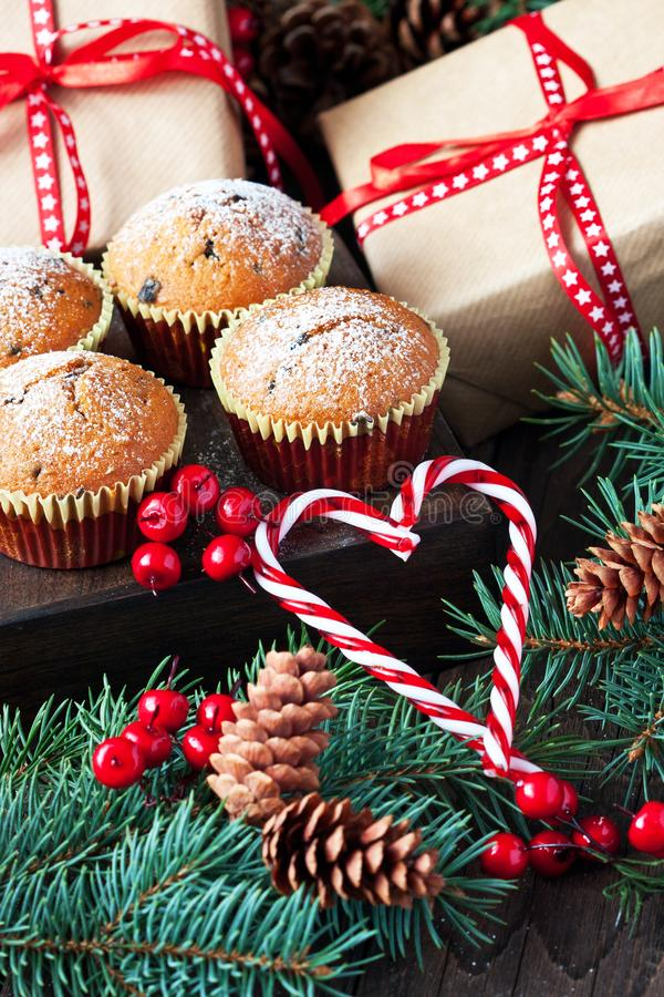 Free Christmas Muffins And Gift Boxes, Treats For Winter Holidays Royalty Free Stock Photo - 161111875