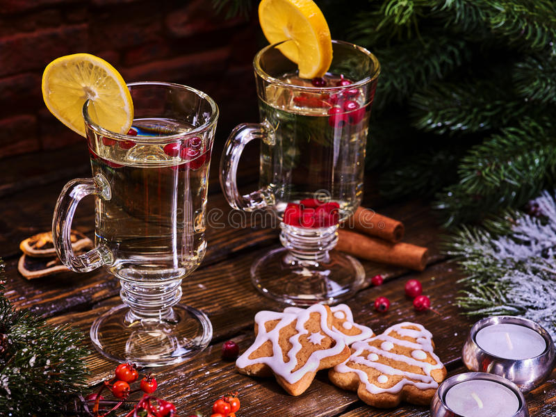 Christmas mug decoration lemon slice and plate cookies. stock photography