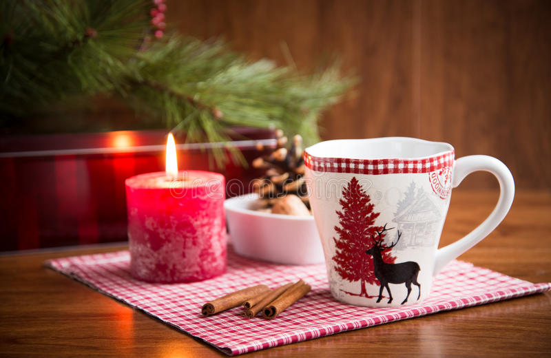 Christmas mug with decorations. royalty free stock photos