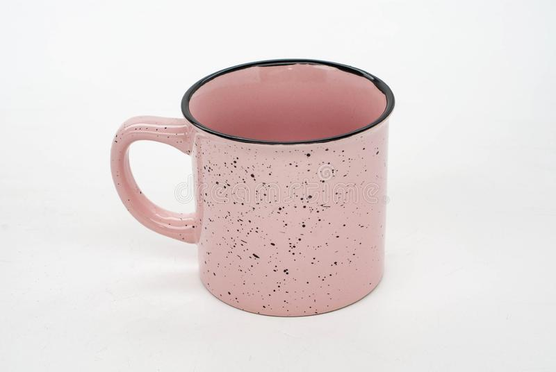 Christmas 2 mug mock-up. Two white blank coffee mugs to add custom design or quote. Perfect for businesses selling mugs, just. PINK mug WITH BLACK DOTS DUST on royalty free stock images