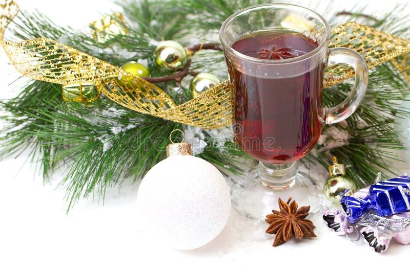 Christmas mug with tea decorated stock images