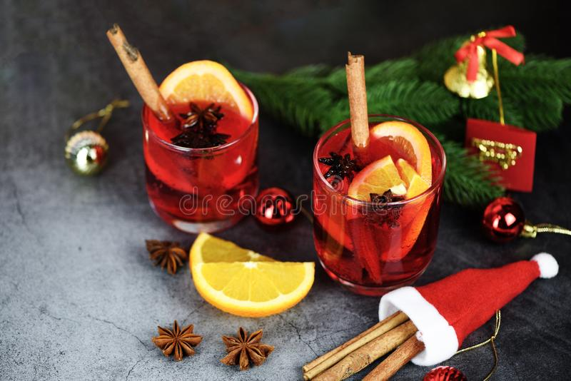 Christmas mulled wine delicious holiday like parties with orange cinnamon star anise spices traditional christmas drinks winter. Christmas mulled wine delicious royalty free stock image
