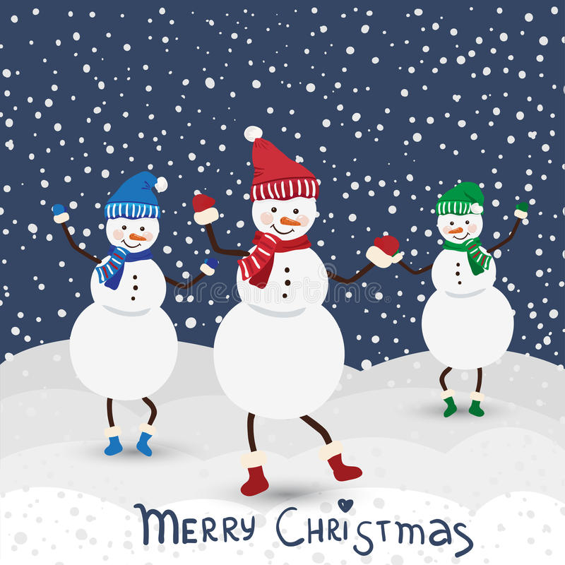 Free Christmas Music Card With Dance Snowman Stock Images - 35122824