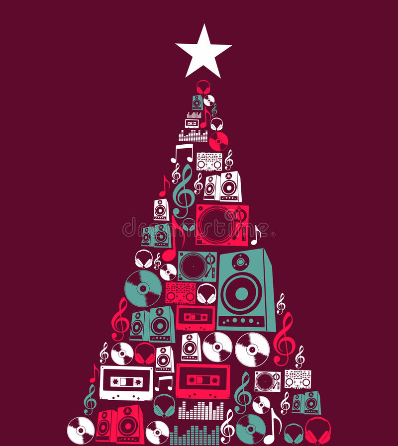 Christmas Music Objects Tree Royalty Free Stock Photo