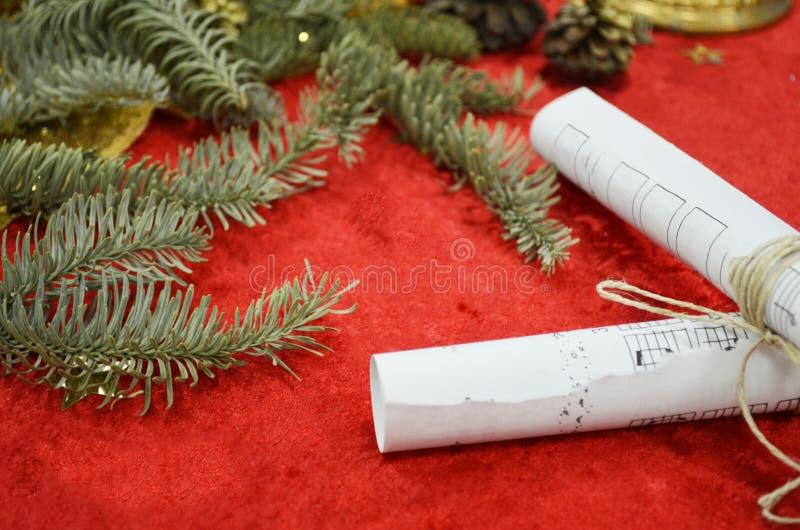 Christmas Music. Sheets of musical symbols royalty free stock photography