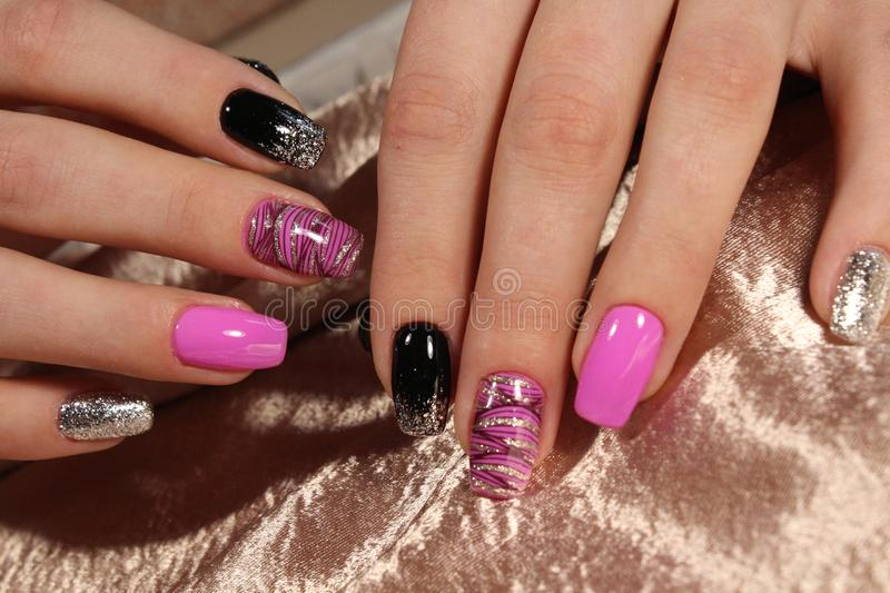 Christmas Nail art manicure royalty free stock images