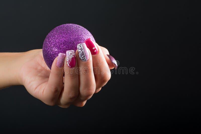 Christmas nail art stock photo. Image of painting, brush - 62948524