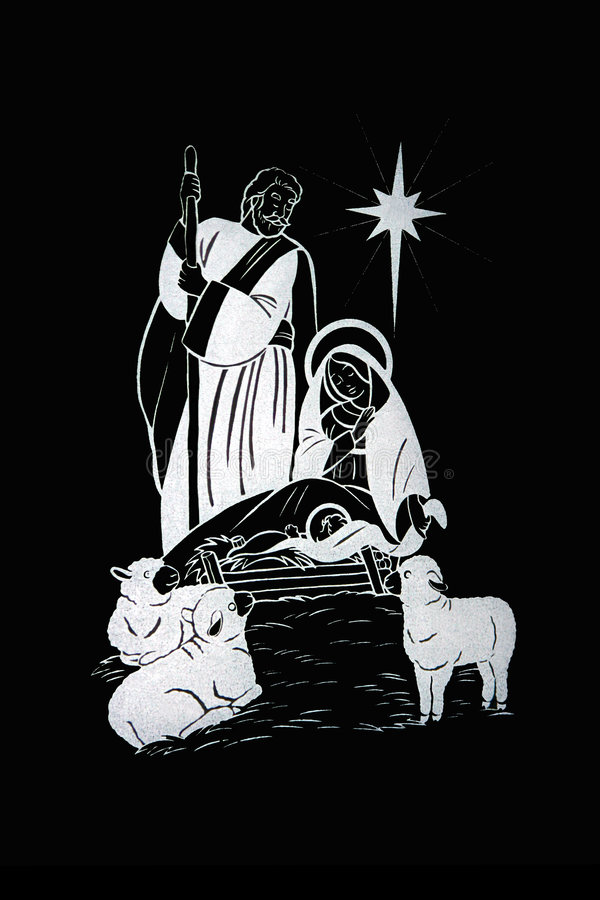 The Christmas Nativity. With the infant Jesus, Mary, Joseph, and three lambs