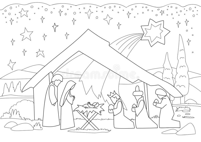 A Christmas nativity coloring scene cartoon, with baby Jesus, Mary and Joseph royalty free stock images