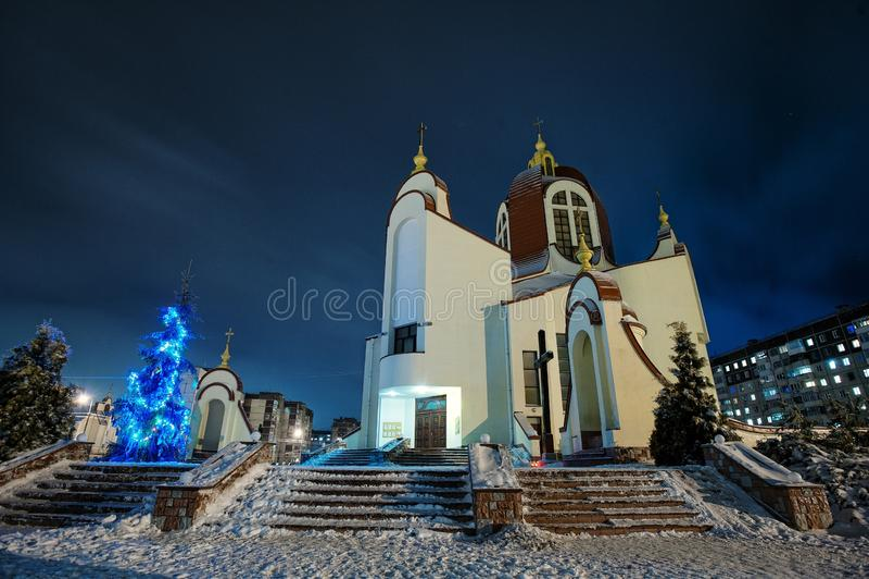 Christmas nativity crib sets. On church stock photo