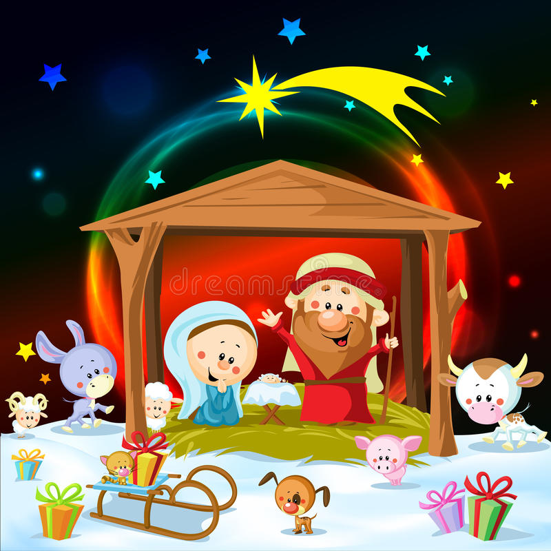 Download Christmas Nativity With Lights Stock Vector - Illustration of animal, crib: 35574382