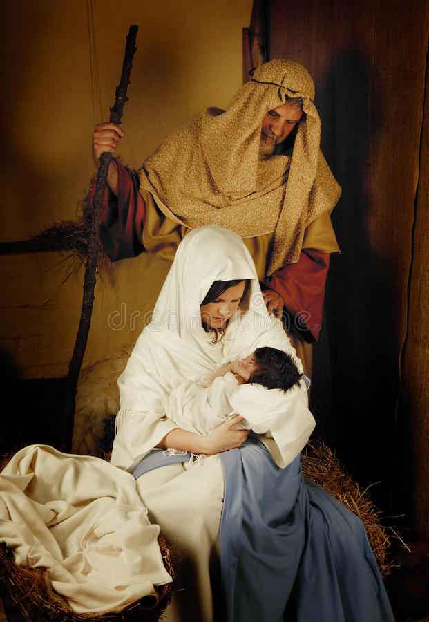Christmas nativity live scene stock photography