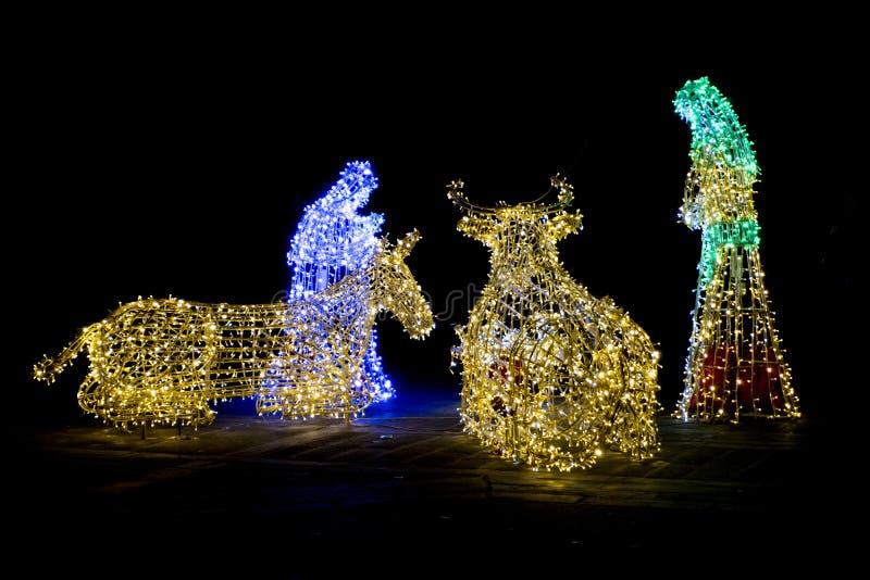 Christmas Nativity made of light royalty free stock image