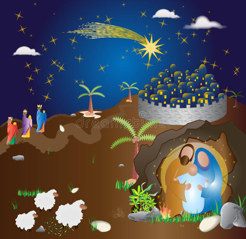 Free Christmas Nativity Scene. Abstract Modern Religious Illus Royalty Free Stock Photo - 62767955