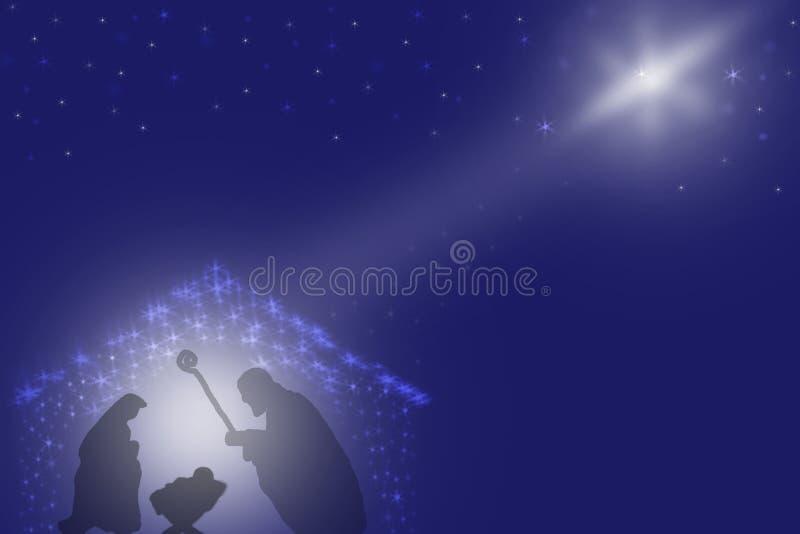 Christmas Nativity scene of baby Jesus in the manger in Bethlehem royalty free illustration