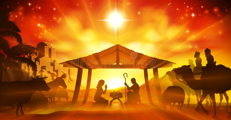 Christmas Nativity Scene. Christmas Christian Nativity Scene of baby Jesus in the manger with Mary and Joseph in silhouette surrounded by animals and the three