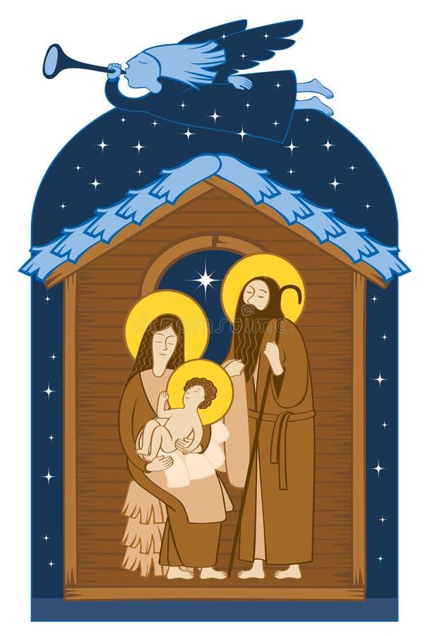 Christmas Nativity scene. Holy Family and angel vector illustration