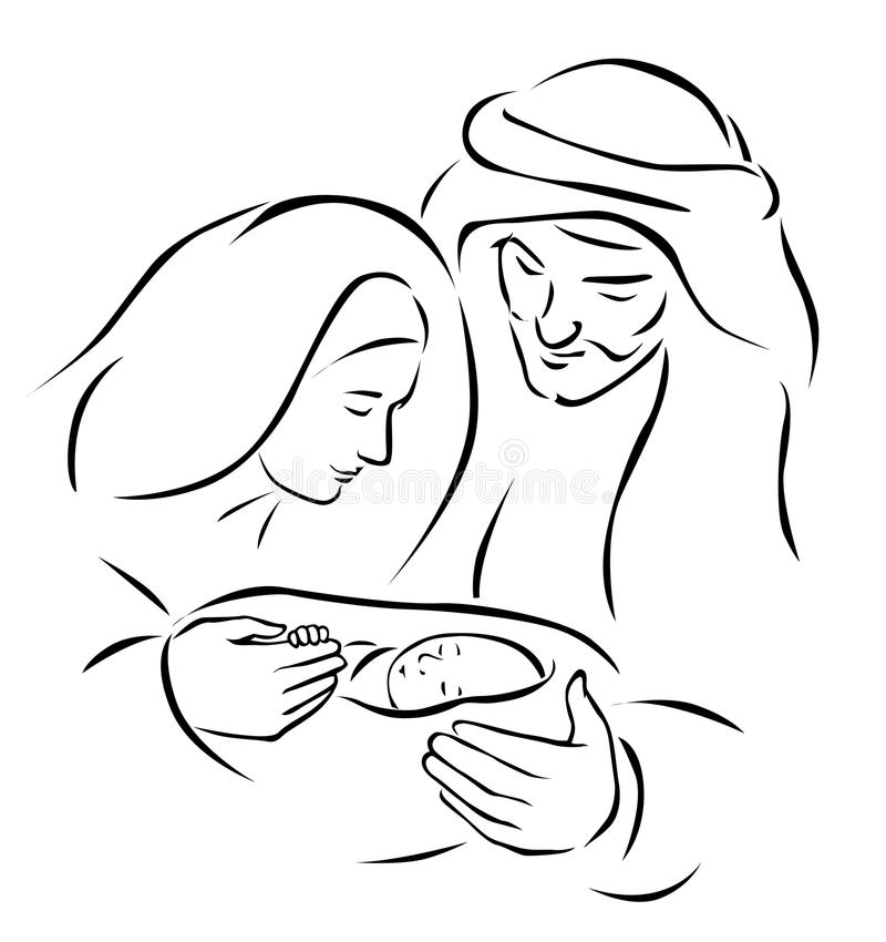 Christmas nativity scene. With holy family - baby Jesus, virgin Mary and Joseph (vector illustration