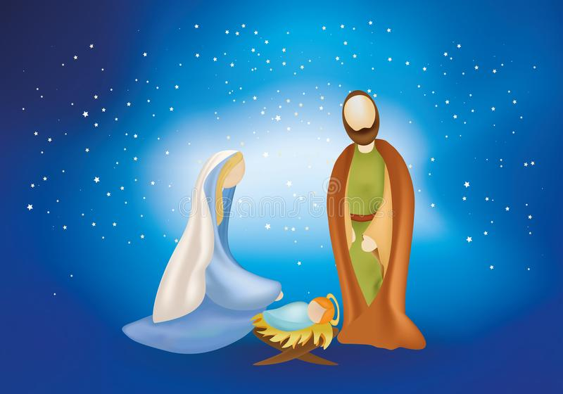 Christmas nativity scene with holy family on blue background. Nativity scene with giuseppe, maria, jesus baby in the manger on starry blue background royalty free illustration