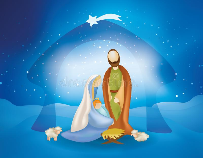 Christmas nativity scene with holy family -Joseph Mary baby Jesus and sheeps. Nativity scene with giuseppe, maria with child jesus in arm, hut with comet star royalty free illustration