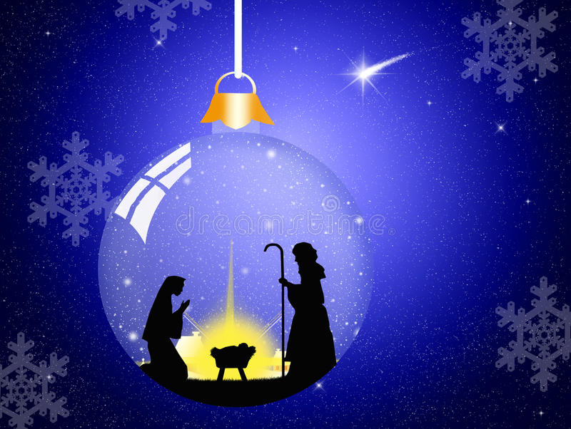 Christmas Nativity Scene. Illustration of Christmas Nativity Scene in the crystal ball