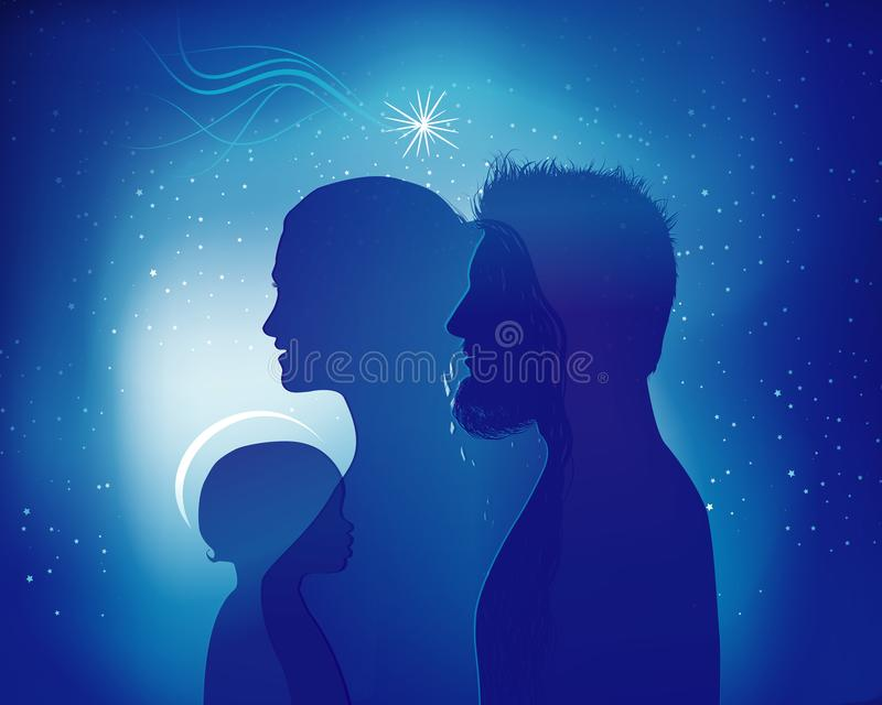 Christmas nativity scene isolated. Colored silhouette profiles with Joseph - Mary and baby Jesus in modern style royalty free illustration