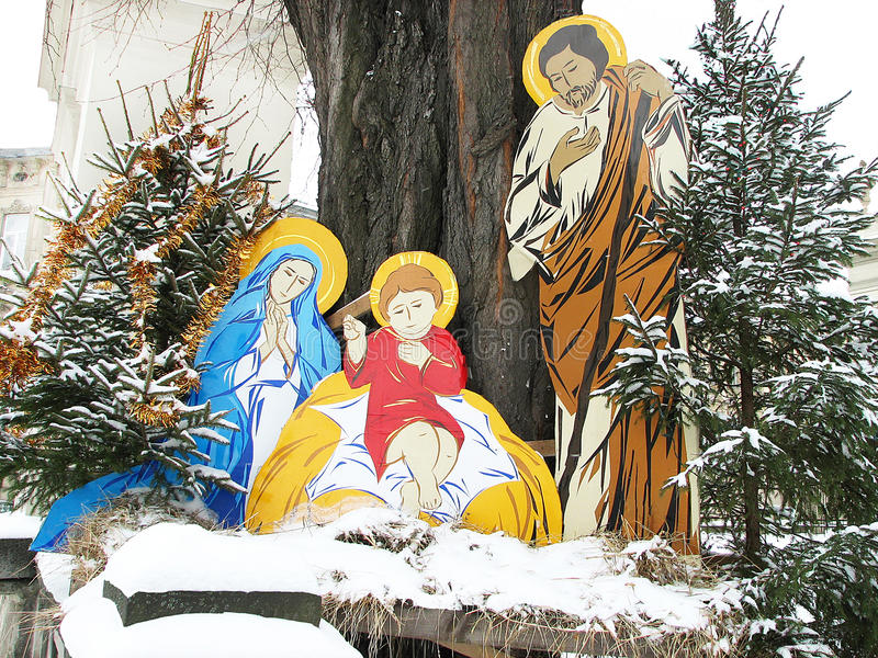 Christmas nativity scene of jesus birth with joseph and mary. stock photography