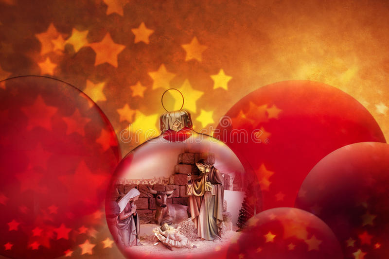 Christmas Nativity Scene Ornaments Jesus Birth. A montage of Christmas ornaments and a nativity scene with baby Jesus royalty free stock photo