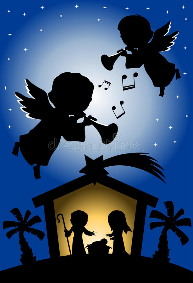 Christmas Nativity Scene Silhouette with Angels. Illustration featuring silhouette of Christmas nativity scene with Joseph newborn Jesus and Mary in a manger vector illustration