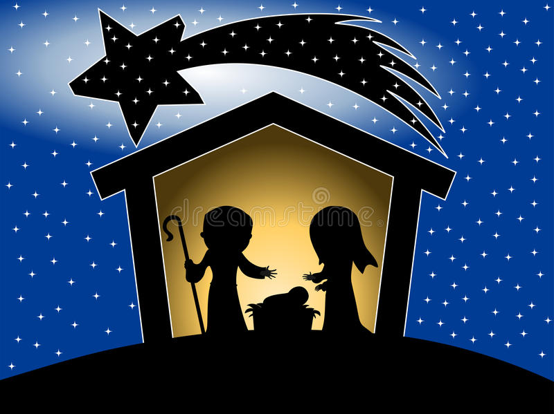Christmas Nativity Scene Silhouette. Illustration featuring silhouette of Christmas nativity scene with Joseph newborn Jesus and Mary in a manger on starry sky vector illustration
