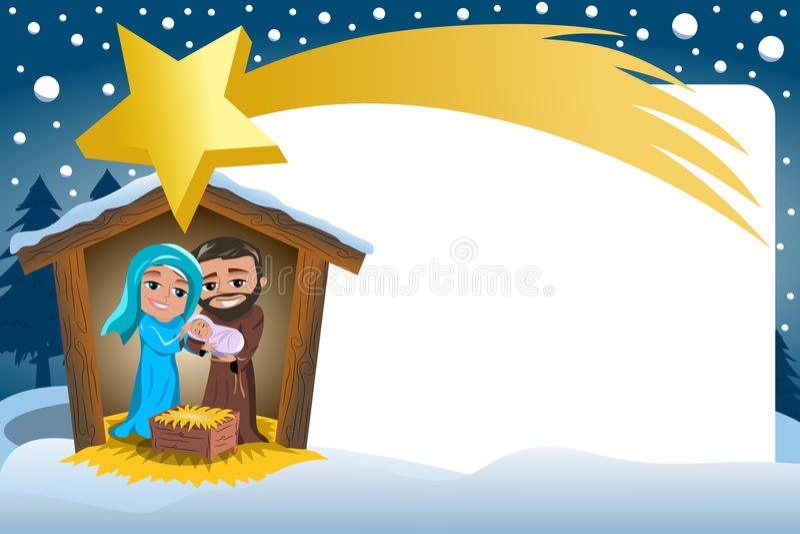 Christmas Nativity Scene Winter Snowy Frame Comete stock illustration