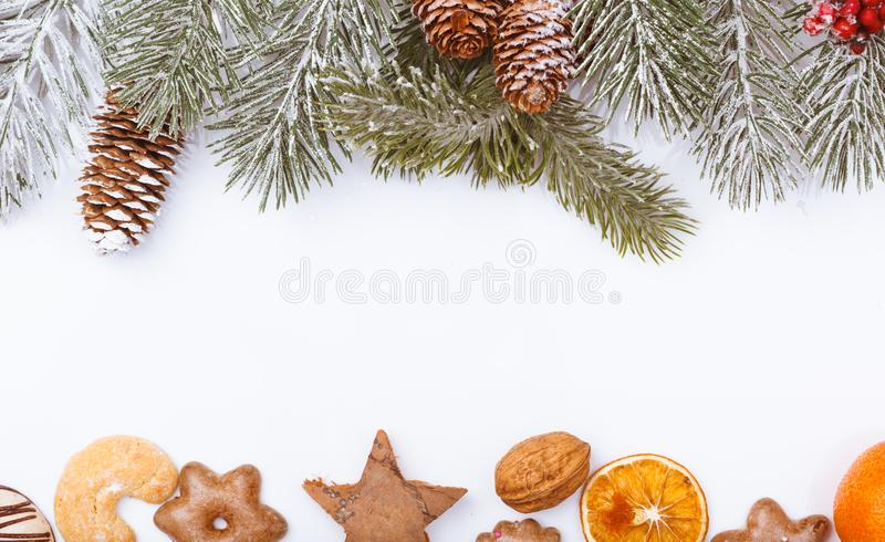 Christmas nature and food frame border on white stock photos