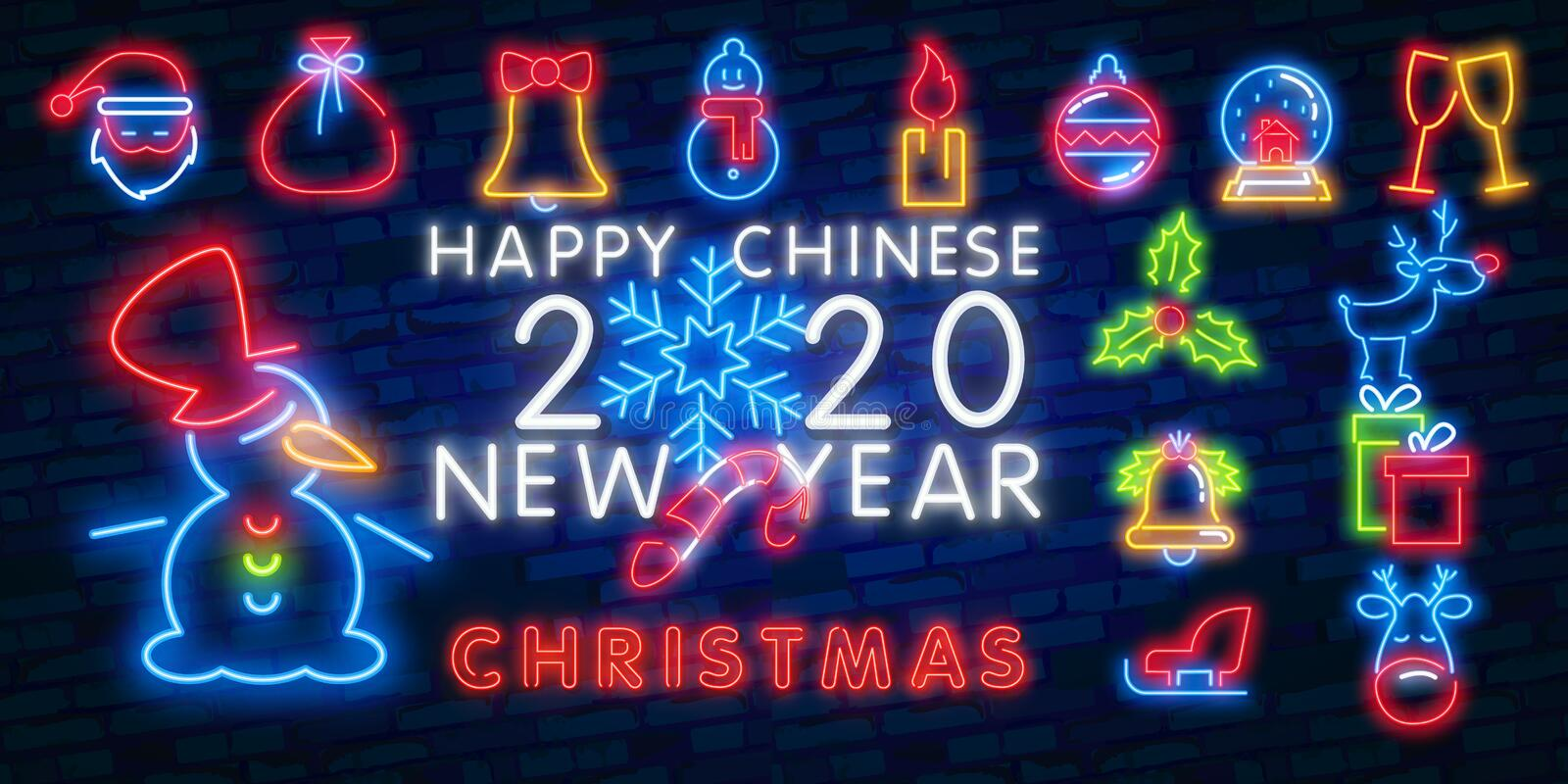 Christmas neon icon set. Merry Christmas and Happy New Year. Set neon icon, label, emblem. Bright signboard, light banner. Vector. Christmas icon set. Merry stock illustration