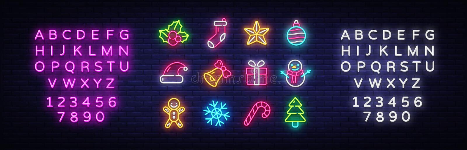 Christmas neon icons set. Happy Christmas collection light signs. Sign boards, light banner. Xmas Neon isolated icons. Emblem, design template. Vector stock illustration