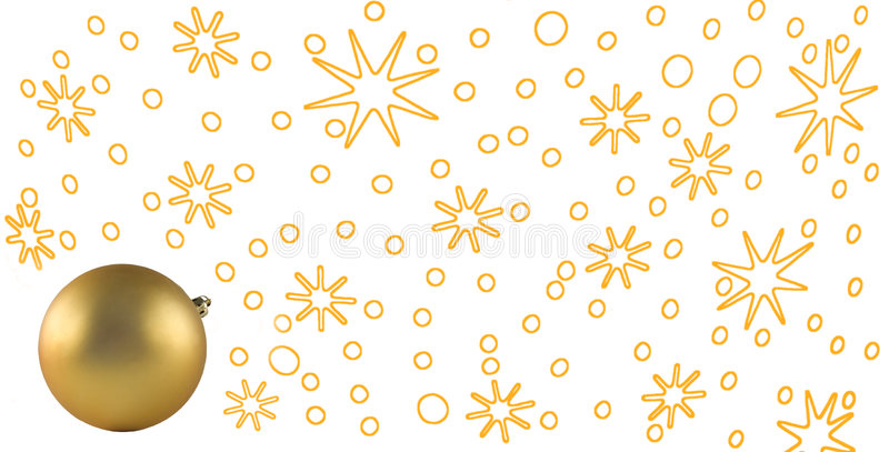 Christmas & New Year. Gold stars on a background and a christmas bulb stock illustration