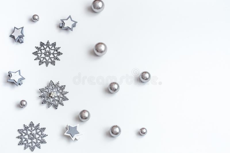 Christmas or New Year accessories on white background isometric view. Holidays, gifts, background, place for text, flatlay royalty free stock photography