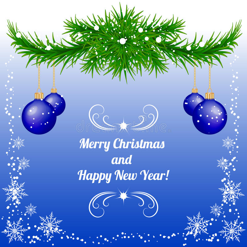 Christmas and New Year background in blue with baubles stock photo