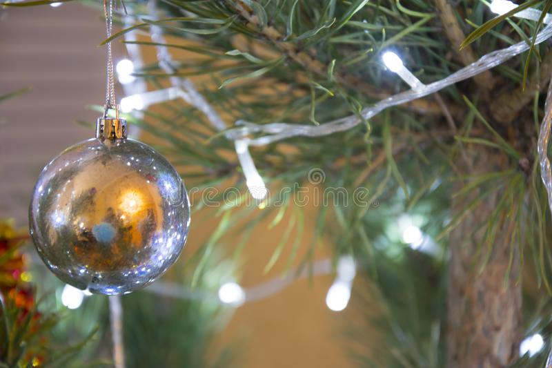 Christmas or New Year background. Decorated pine tree closeup royalty free stock photos