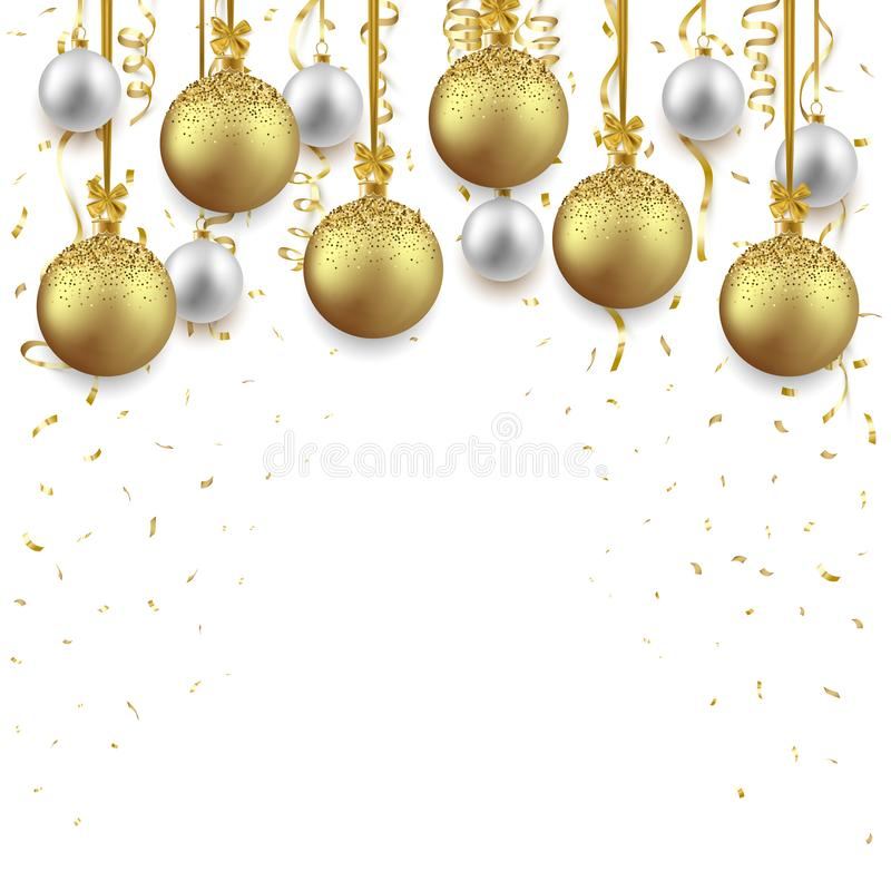 Christmas and New Year background decorated with shiny balls and confetti, vector illustration stock illustration