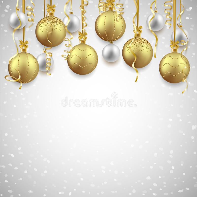 Christmas and New Year background decorated with shiny balls and confetti, vector illustration vector illustration