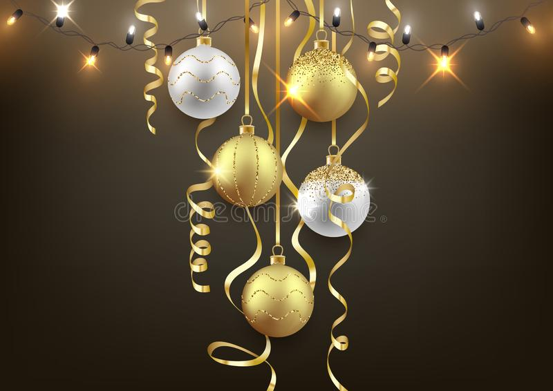 Christmas and New Year background design, decorative balls. With shiny lights and confetti, vector illustration vector illustration