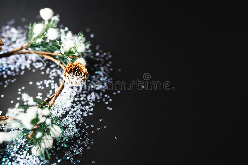 Christmas and New Year background with gifts. Deer, stars and fir-trees, flat lay on a dark blue background, holiday greetings, concept of a winter background stock images