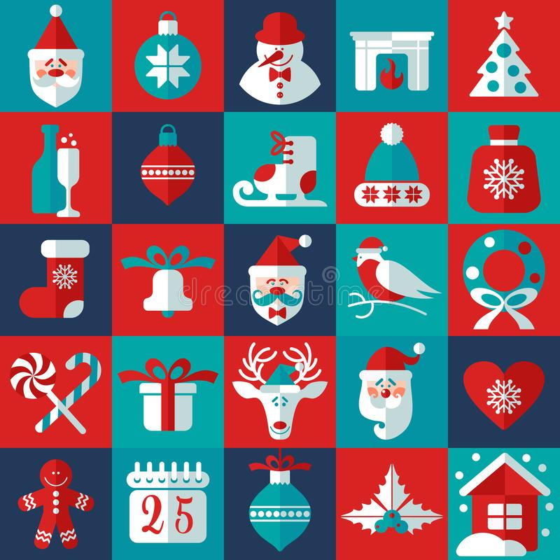 Christmas and new year background icons set. Scandinavian style. royalty free stock image