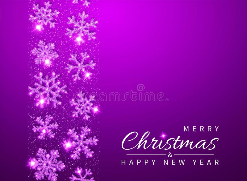 Christmas and New Year background with shining glitter glowing pink snowflakes. Vector illustration royalty free illustration