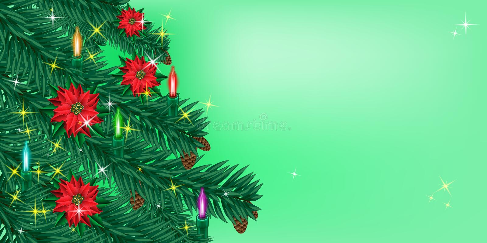 Christmas or New Year background. Sparkling Christmas tree branch with Christmas lights and flowers poinsettia royalty free illustration
