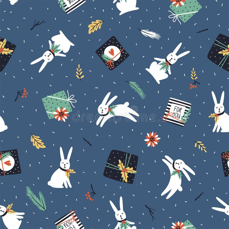 Christmas and New Year background. Vector seamless pattern with christmas tree, gift boxes, white rabbits and poinsettia. stock illustration
